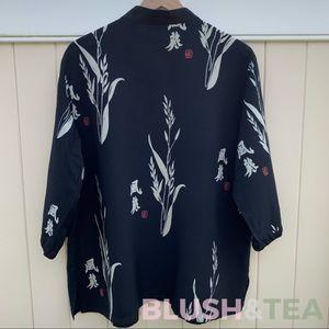 Black Asian Print Tunic/Happi Coat